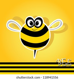 vector bee icon. cartoon cute bright baby bee. vector illustration.