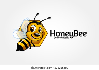 Vector bee icon. Cartoon cute bright baby bee on stylish white background. Vector logo illustration.