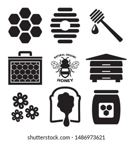 vector bee icon isolated on white background.flat bumblebee logo  cartoon. honey bee simple illustration. natural orhanic honey text