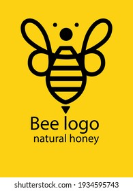 Vector Bee logo in trendy linear style. Natural honey concept.