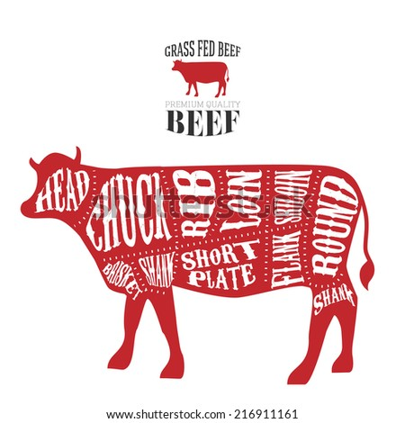 Vector Beef Cuts Diagram Vintage Style Stock Vector Royalty Free