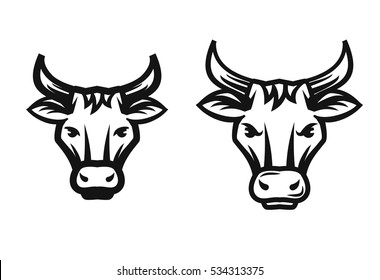vector beef head isolated on white background