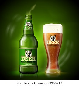 Vector Beer advertisement template, green bottle and beer glass on dark green background with bright green lights, on table with reflection.