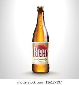 Vector beer bottle with label