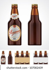 Vector beer bottle template or icon