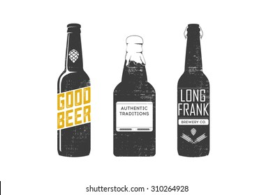Vector beer bottles silhouettes.