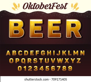 Vector beer font, Oktoberfest alphabet with letters and numbers