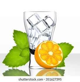Vector beer glass with ice, orange and mint