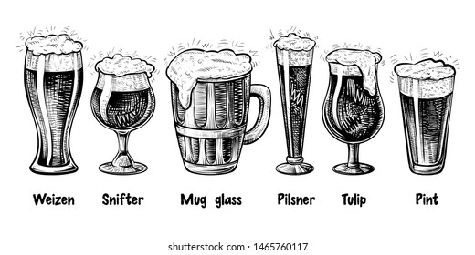 Vector beer glass types, vintage engraving. Foamy beer, black and white hand drawn illustration. Different glasses: weizen, pilsner, tulip, snifter, pint, mug.