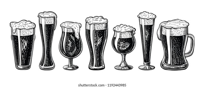 Vector beer glasses and mug. Hand drawn engraved vintage style. Black isolated sketch illustrations on white.
