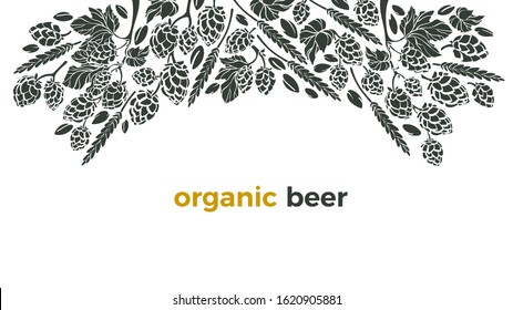 Vector beer ingredient of twig of hop, wheat grain. Pattern with hand drawn graphic illustration, border. Alcohol craft background, art template. Organic natural beverage