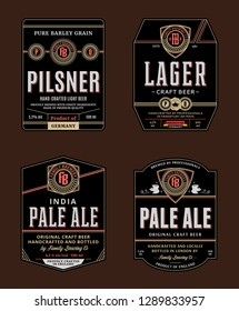 Vector beer labels and design elements. Pale ale, lager, pilsner and amber ale labels. Brewing company branding and identity design elements.