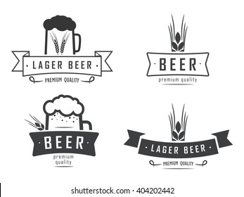 vector beer logos with wheat, mug, on white background