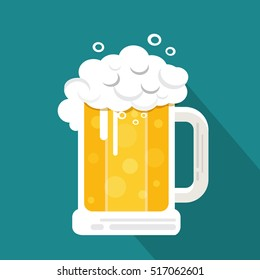 Vector Beer with long shadow , Lager beer icon , Glass with beer isolated on background
