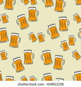 Vector beer seamless pattern. Crafted beer background. Beer mug texture. Vector illustration.