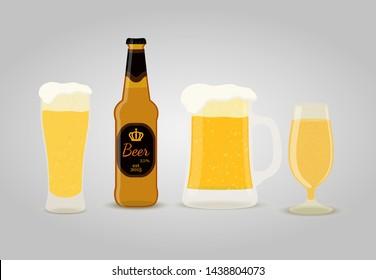 Vector beer set - bottle, cups, big glasses of frothy drink. The golden liquid in goblets, cartoon flat style.