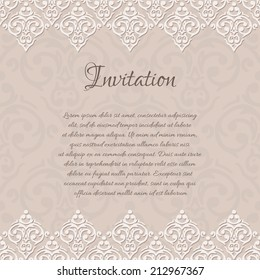 Vector beige baroque damask invitation blank with a place for your text