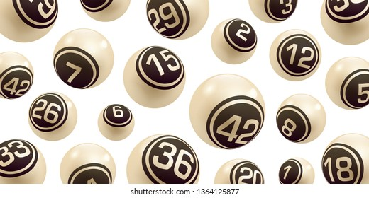 Vector Beige Bingo / Lottery Number Balls Set isolated on White Background