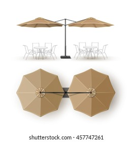 Vector Beige Blank Patio Double Outdoor Beach Cafe Bar Pub Lounge Restaurant Round Umbrella Parasol for Branding Top Side View Mock up Close Isolated on White Background