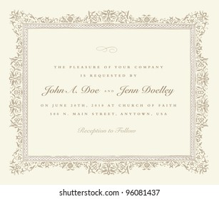 Vector Beige Ornate Frame. Easy to edit. Perfect for invitations or announcements.