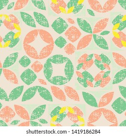 Vector beige seamless pattern of colorful abstract geometric shape with grunge texture. Suitable for textile, gift wrap and wallpaper.