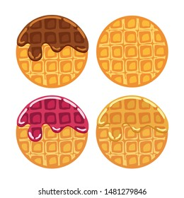 vector belgian waffles with colorful flowing fruit syrup and chocolate ice cream isolated on white background. breakfast homemade waffle with cream, blueberry and raspberry as sweet dessert food. top