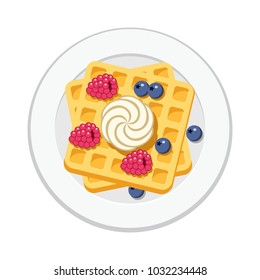 vector belgian waffles with ice cream and colorful  berries isolated on white background. breakfast homemade waffle with cream, blueberry and raspberry as sweet dessert food. top view, flat style