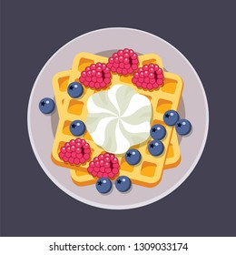 vector belgian waffles on plate with ice cream and colorful berries isolated on white background. breakfast homemade waffle with cream, blueberry and raspberry as sweet dessert food. top view, eps10