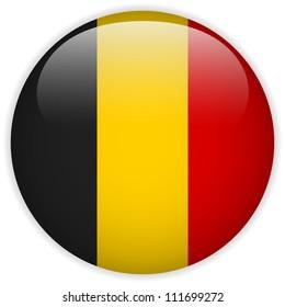 Vector - Belgium Flag Glossy Button