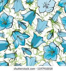 Vector bellflower blossoms seamless pattern background. Natural summer, spring backdrop with campanula meadow plants with blue petals. Floral natural illustration for poster, textile decoration