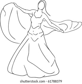 vector - belly dancer isolated on background