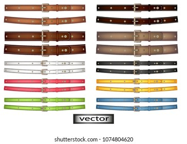Vector. Belt leather, bright color, red, blue, green, yellow, brown, dark and light, thick and thin strap riveted on the belt or collar, 3D, realistic illustration