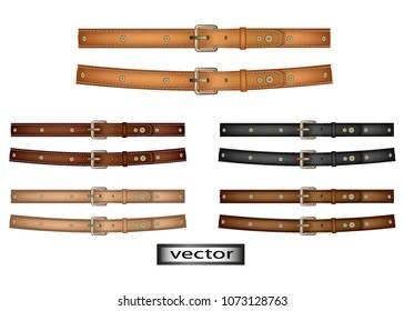 Vector. Belt leather, natural color, brown, black, beige, dark and light, stitched with rivets on the belt or dog collar, 3D, realistic illustration