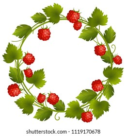 Vector berries wreath with raspberry and leaves. Round frame isolated on white background. Empty place for text.