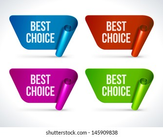 Vector best choice labels set. Transparent shadow easy replace background.