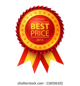 Vector best price red label with ribbons.