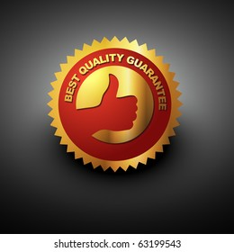 vector best quality label in golden color