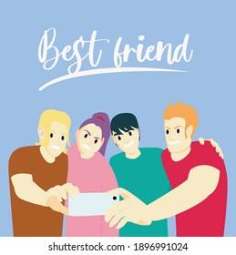 Vector bestfriend. Editable design vector