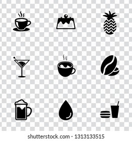 vector beverage drink icons set. juice, coffee, water and whiskey drinking sign symbols