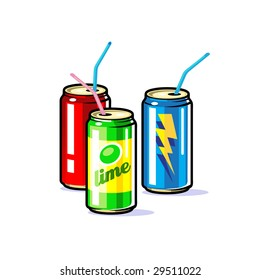 A vector beverages in tin  cans with straws