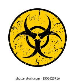 Vector Beware Bio-hazard Sign Isolated on White Background. International Hazard Symbol. Warning Icon of Virus