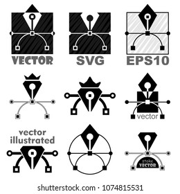 Vector bezier curve pen tool icon set. Web symbol or logo. Graphic design and computer scalable SVG graphics.
