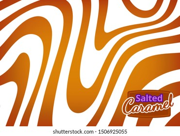 Vector Bg with Flowing Salted Caramel. Abstract Sweet Texture. Creative Food Background for Packaging Design and Advertisement