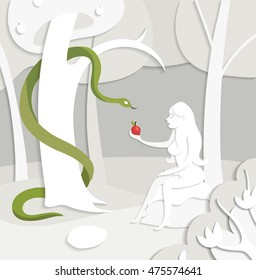 Vector Bible illustration, Eve with red apple, serpent tempter, cut-out paper illustration