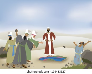 Vector Biblical illustration of Stephen Stoned by Sanhedrin Council. Based on Biblical passage: Acts 7:1-8:3