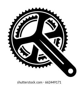 vector bicycle cogwheel sprocket crankset symbol