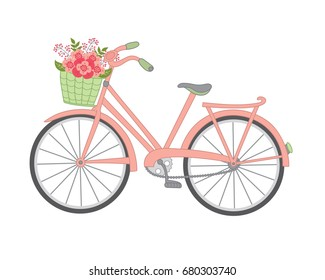 Vector bicycle with floral basket. Bicycle vector illustration.