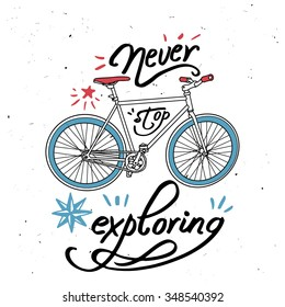 """Vector bicycle with """"Never stop exploring"""" quote"""