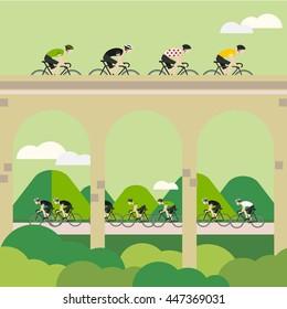Vector Bicycle Race Illustrations. Tour de France