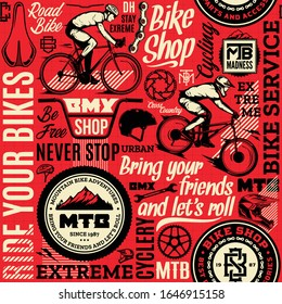 Vector bicycle seamless pattern or background in black, red and beige colors. Bike shop, service, mountain, bmx and road biking badges, icons and design pieces